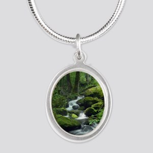 Summer Forest Brook Silver Oval Necklace