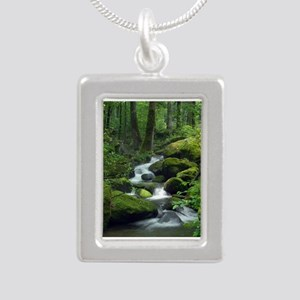 Summer Forest Brook Silver Portrait Necklace