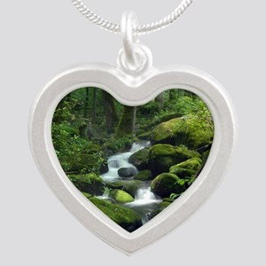Summer Forest Brook Silver Heart Necklace