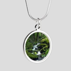 Summer Forest Brook Silver Round Necklace