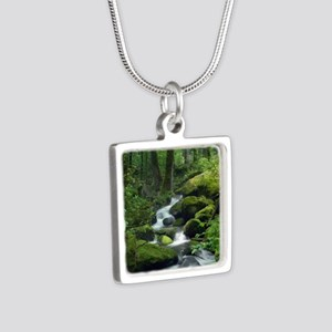 Summer Forest Brook Silver Square Necklace