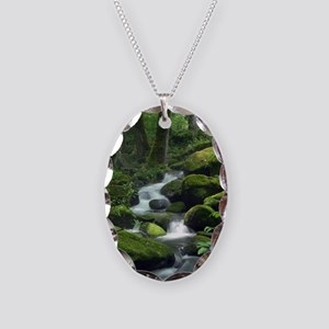 Summer Forest Brook Necklace Oval Charm