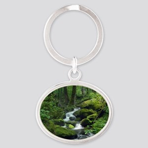 Summer Forest Brook Oval Keychain