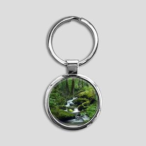 Summer Forest Brook Round Keychain