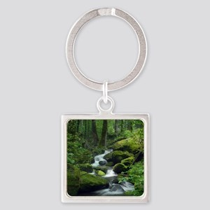 Summer Forest Brook Square Keychain