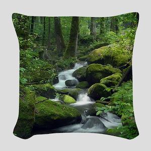 Summer Forest Brook Woven Throw Pillow