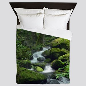 Summer Forest Brook Queen Duvet