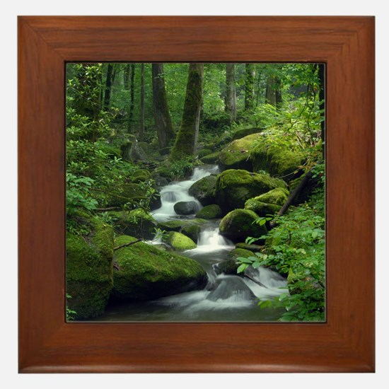 Summer Forest Brook Framed Tile
