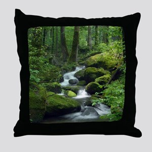 Summer Forest Brook Throw Pillow