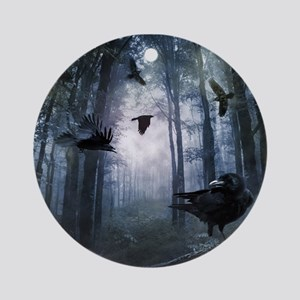 Misty Forest Crows Round Ornament