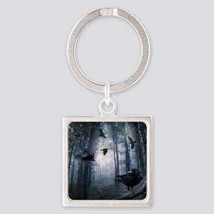 Misty Forest Crows Square Keychain