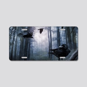Misty Forest Crows Aluminum License Plate