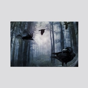 Misty Forest Crows Rectangle Magnet