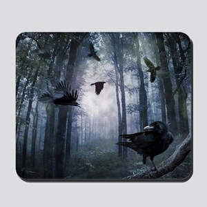 Misty Forest Crows Mousepad