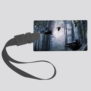 Misty Forest Crows Large Luggage Tag