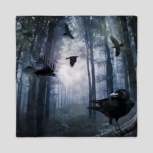 Misty Forest Crows Queen Duvet