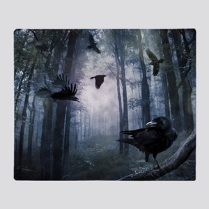 Misty Forest Crows Throw Blanket