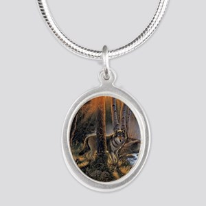 Forest Wolves Silver Oval Necklace