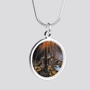 Forest Wolves Silver Round Necklace