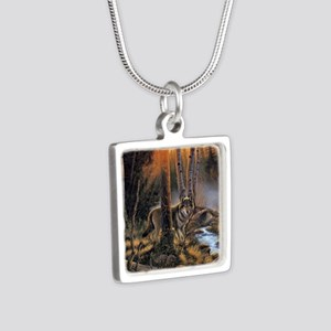 Forest Wolves Silver Square Necklace