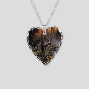 Forest Wolves Necklace Heart Charm
