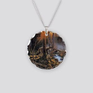 Forest Wolves Necklace Circle Charm