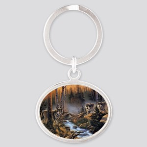Forest Wolves Oval Keychain