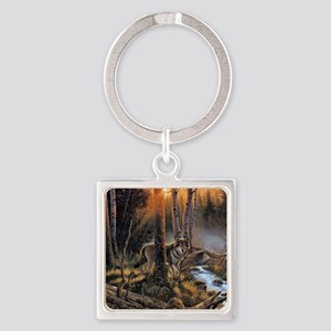 Forest Wolves Square Keychain