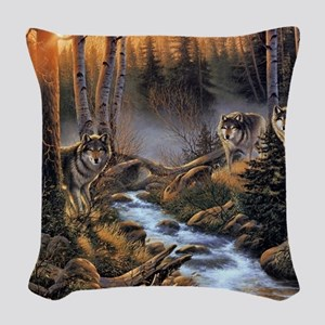 Forest Wolves Woven Throw Pillow