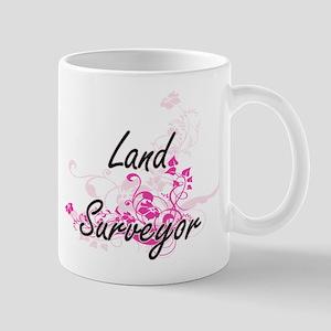 Land Surveyor Artistic Job Design with Flower Mugs