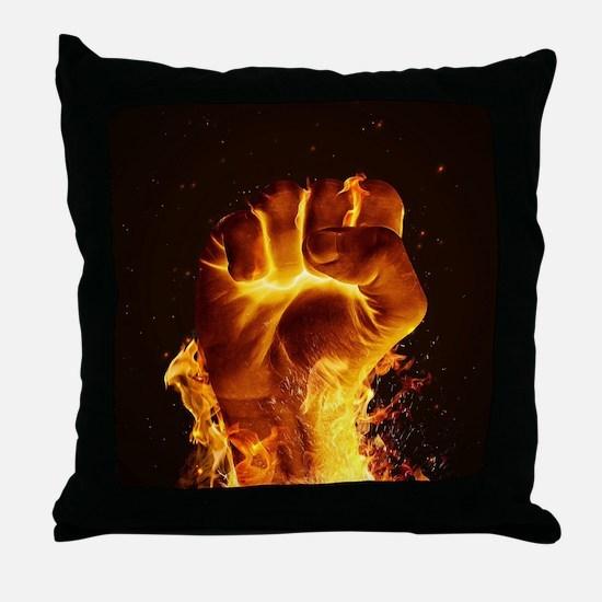 Fire Fist Throw Pillow