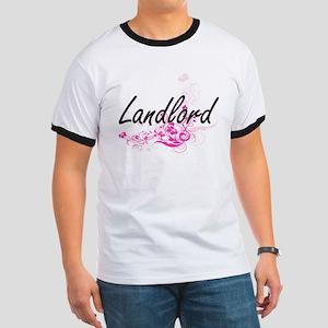 Landlord Artistic Job Design with Flowers T-Shirt