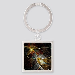 Colorful Artistic Fractal Square Keychain