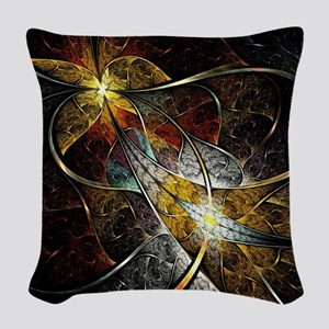 Colorful Artistic Fractal Woven Throw Pillow