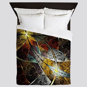 Colorful Artistic Fractal Queen Duvet