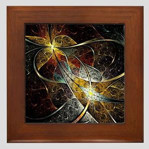 Colorful Artistic Fractal Framed Tile