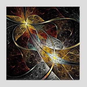 Colorful Artistic Fractal Tile Coaster