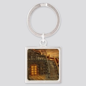 Onboard Pirate Ship Square Keychain