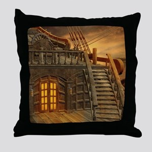 Onboard Pirate Ship Throw Pillow