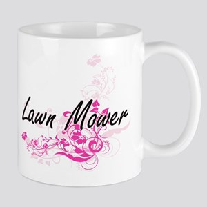 Lawn Mower Artistic Job Design with Flowers Mugs