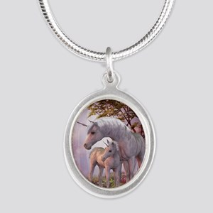 Enchanted Unicorns Silver Oval Necklace