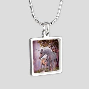 Enchanted Unicorns Silver Square Necklace