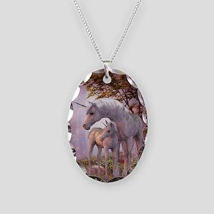 Enchanted Unicorns Necklace Oval Charm