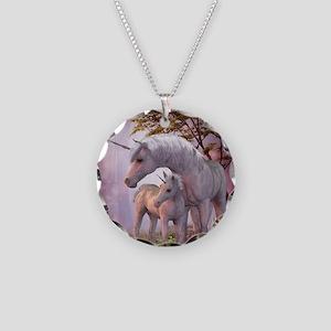 Enchanted Unicorns Necklace Circle Charm