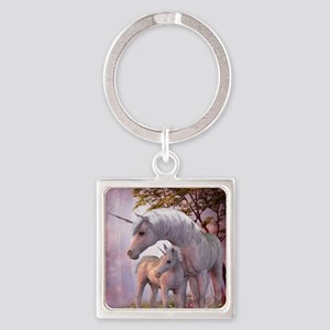 Enchanted Unicorns Square Keychain