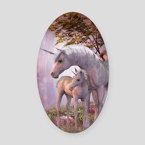 Enchanted Unicorns Oval Car Magnet