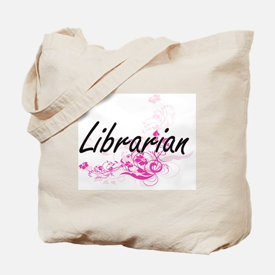 Librarian Artistic Job Design with Flower Tote Bag