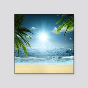 "Tropical Beach Square Sticker 3"" x 3"""
