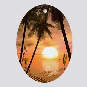 Tropical Sunset Oval Ornament