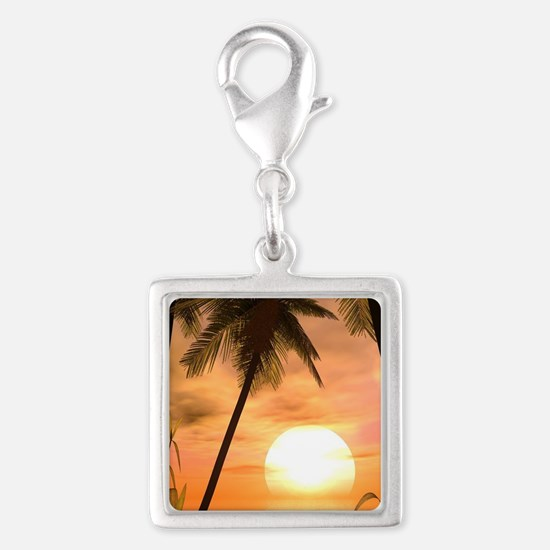 Tropical Sunset Silver Square Charm
